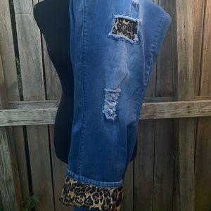 L&B leopard patch jeans